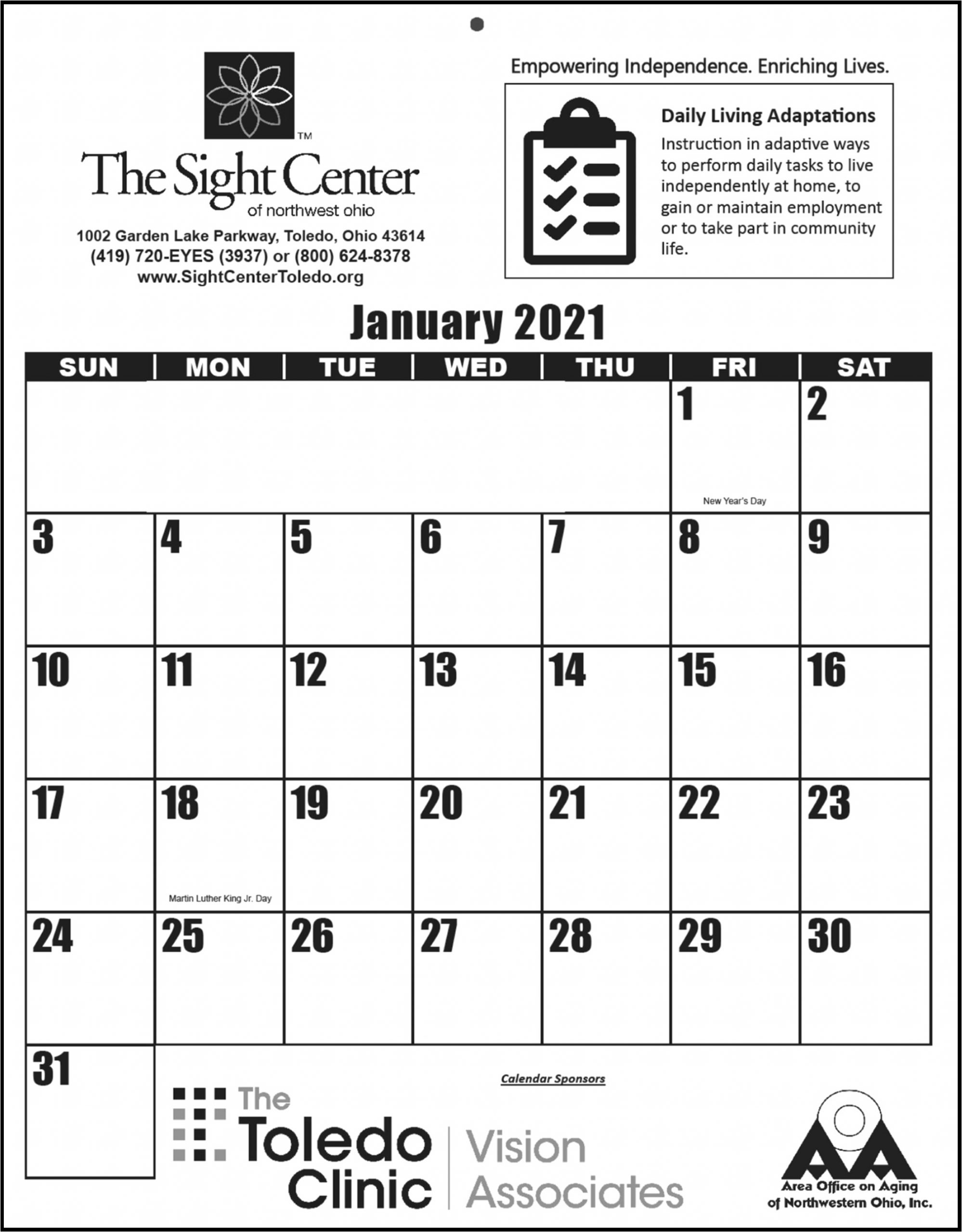 Picture of The Sight Center's 2021 Large-print calendar