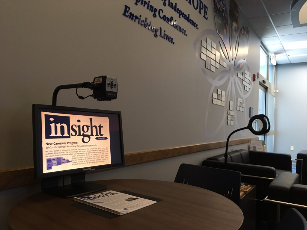 Photo of a video magnifier in The Sight Center lobby